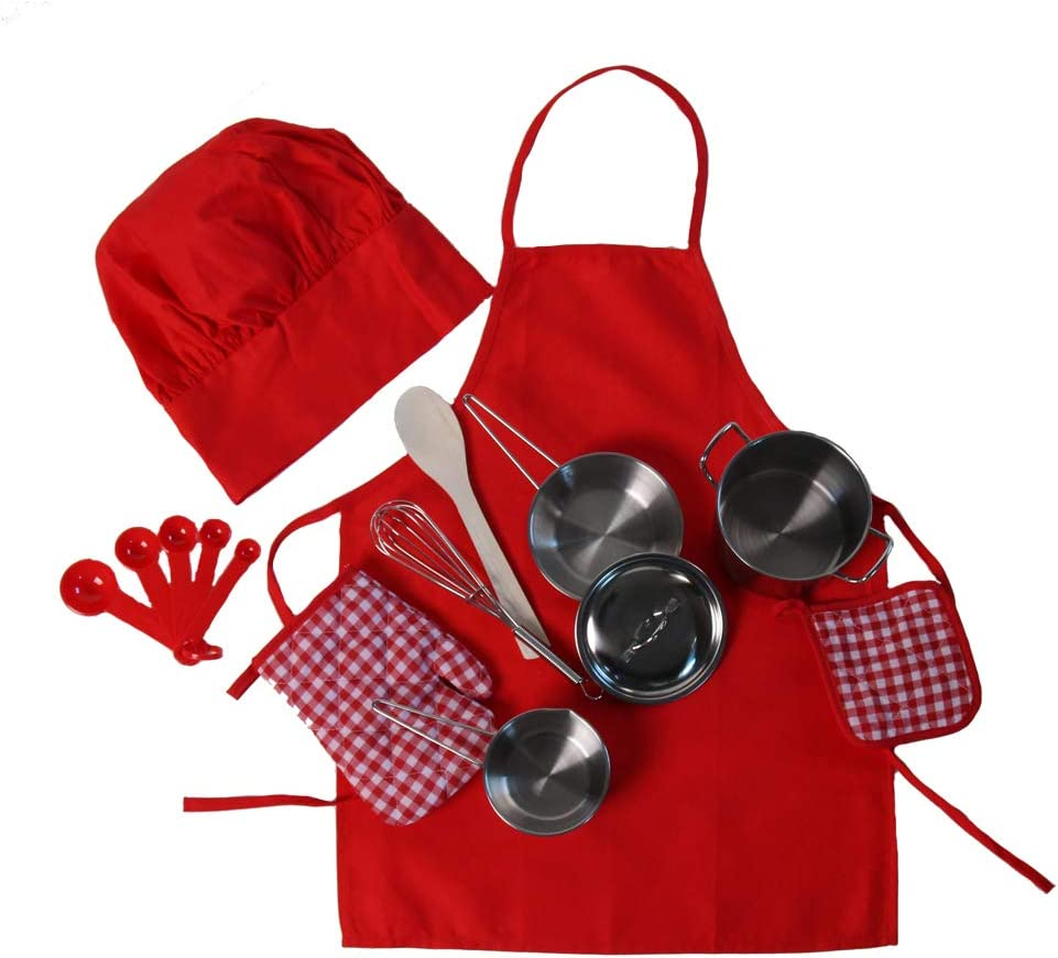 Kids Red Chef Cooking Gift - Apron, Hat & 9 Piece Miniature Stainless Steel Pan Set