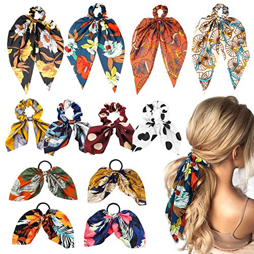 WATINC 12 Pcs Bowknot Hair Scrunchies Silk Satin Scarf Hair Ties Chiffon Floral Scrunchie Ponytail Holder with Bows Dot Flower Pattern Hair Scrunchy Accessories Ropes for Women