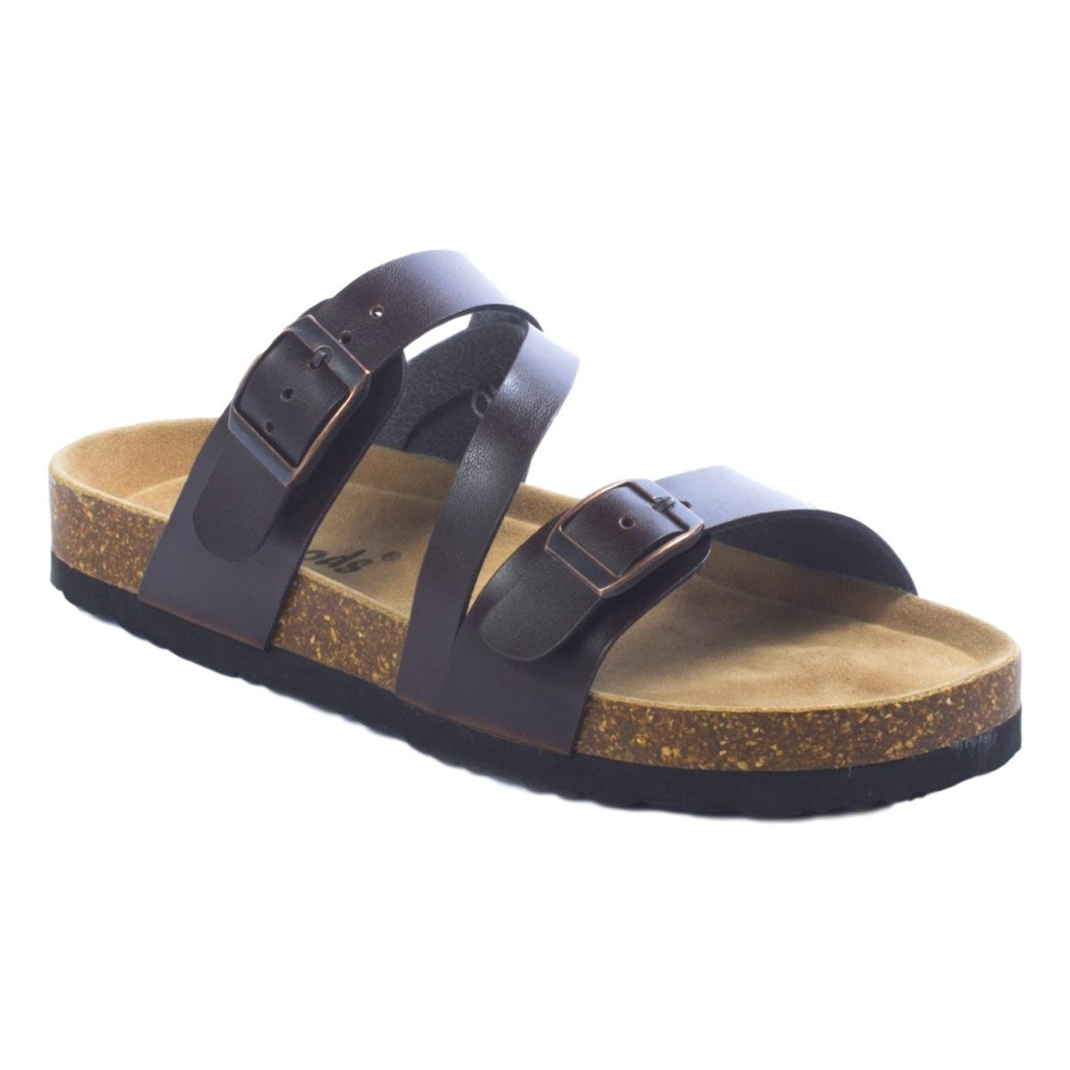 OUTWOODS Women's Bork-56 Vegan Leather Adjustable Strap Buckle Flats Sandals (6 B(M) US, Brown)