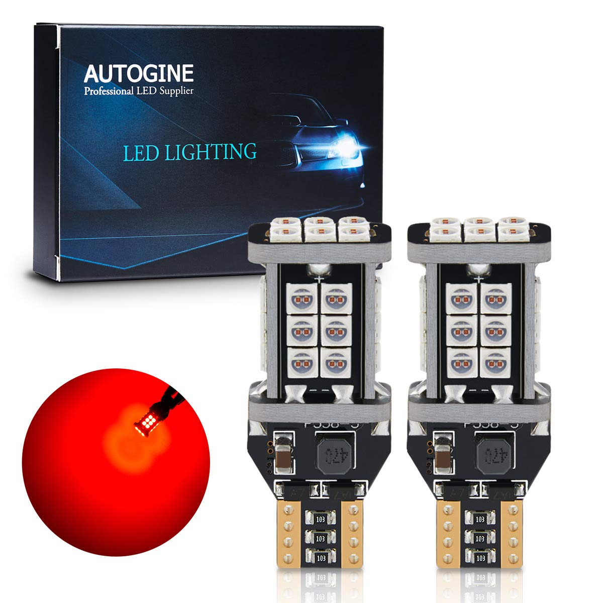 AUTOGINE 4 X Super Bright 9-30V 7440 7441 7443 7444 992 LED Bulbs 3014 54-EX Chipsets with Projector for Tail Lights Brake Lights Turn Signal Lights Brilliant Red