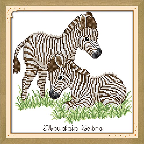 Good Value Cross Stitch Kits Beginners Kids Advanced -Baby Zebra 11 CT 13X13, DIY Handmade Needlework Set Cross-Stitching Accurate Stamped Patterns …