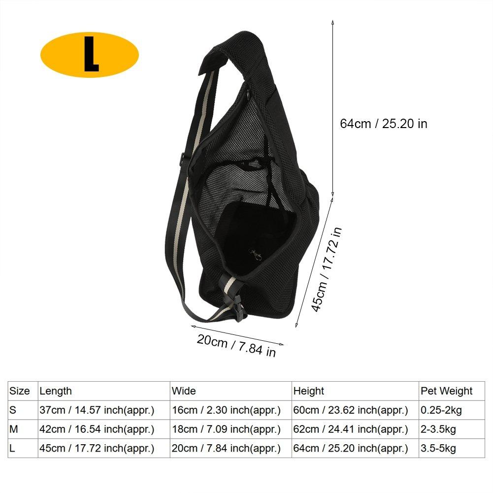 Black L Black L Dog Cat Pet Sling Carrier Bag,Single Shoulder Bag with Adjustable Shoulder Strap for Pet Dog Puppy Carrier Travel Tote Backpack (L-Black)