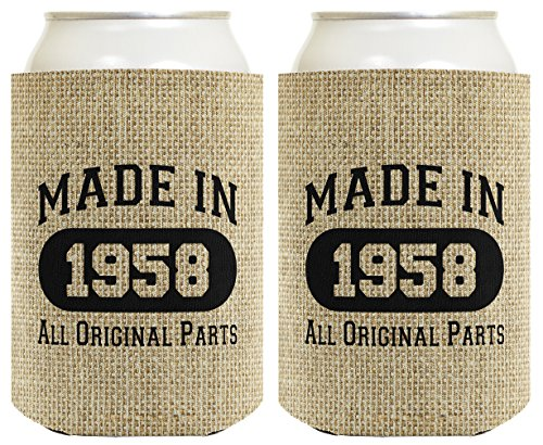 oolie Made 1958 Can Coolies 2 Pack Can Coolie Drink Coolers Coolies Burlap ()