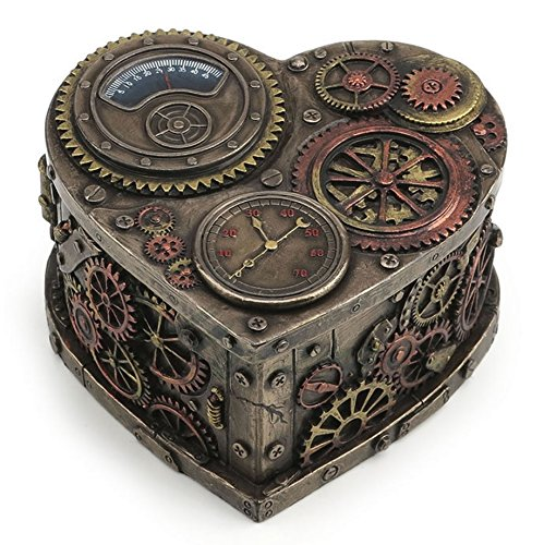 Steampunk Heart Shape Trinket Box Gothic Home Decor Statue Sculpture