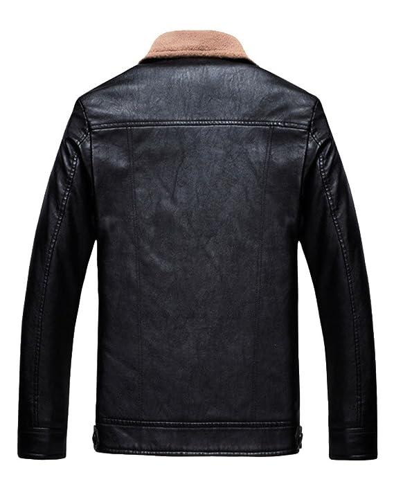 ZhuiKun Slim Fit Herren Bikerjacke Design Mantel Freizeit Gesteppt Vintage Lederjacke OkuiXZP