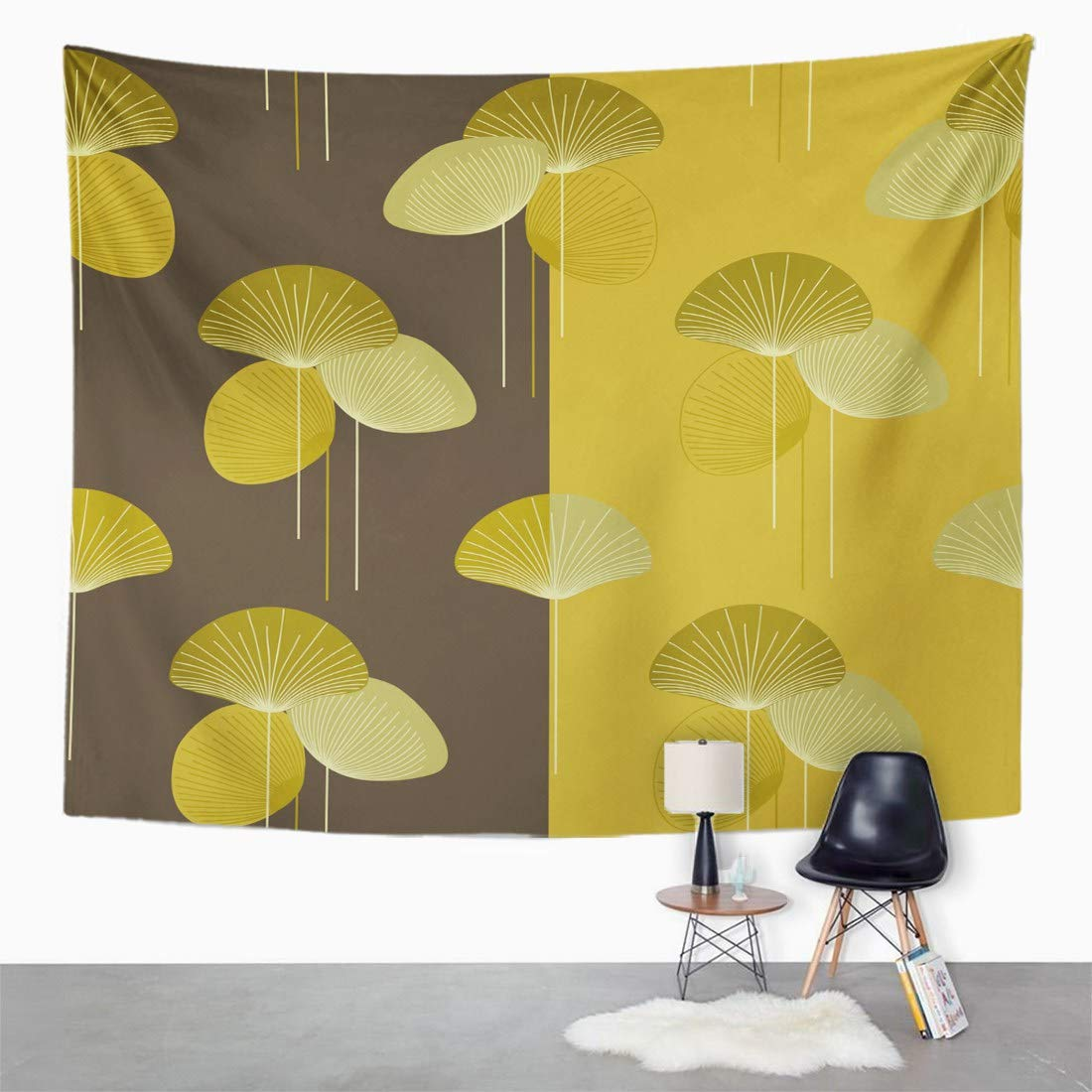Amazon.com: Emvency Wall Tapestry Brown 50S Autumn Floral Pattern ...