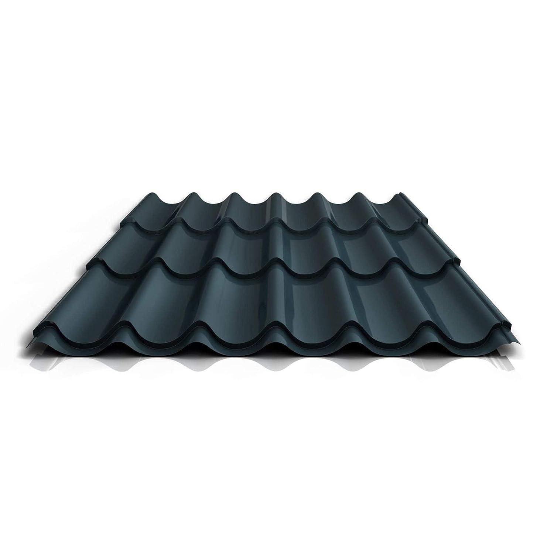 Farbe Anthrazitgrau St/ärke 0,50 mm Profil PS47//1060RT Dachziegelblech Material Stahl Beschichtung 25 /µm Pfannenblech Ziegelblech