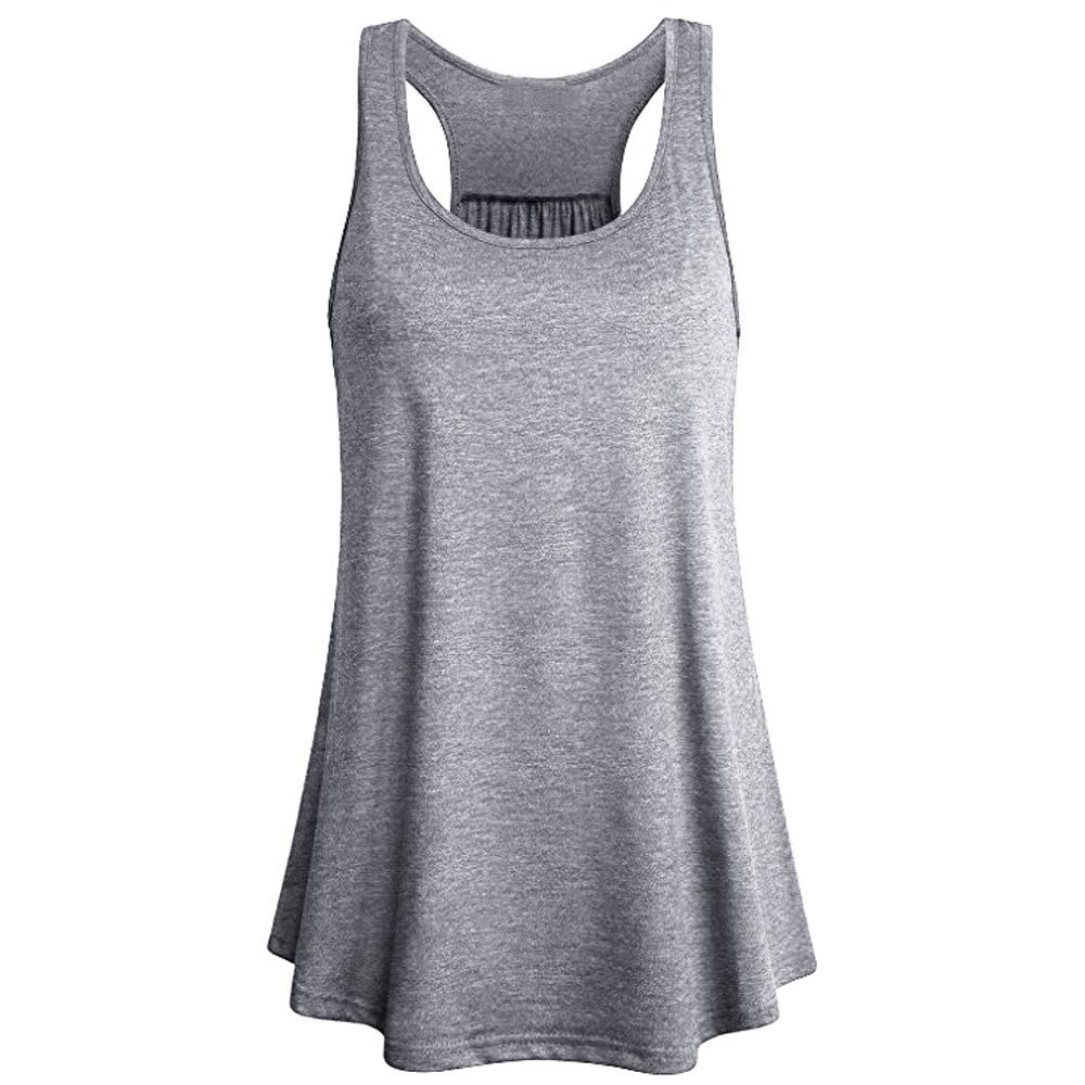 Women Sleeveless Sport Yoga Vest Solid Knitting Flowy Square Neck Top Racerback Tank Cami Blouse Gray