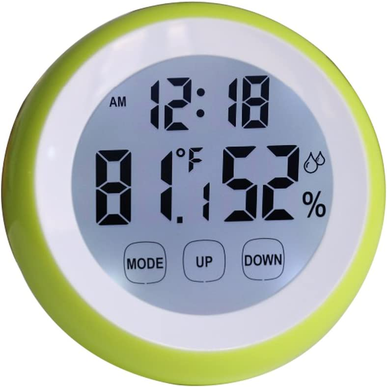 Mini Digital Thermometer Hygrometer Travel Alarm Clock For Women With Magnet On Back -Funny Wall Table Soft Backlight Time Alarm Clock -Green