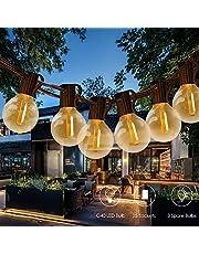 Guirnalda Luces LED,Tomshine 39.37FT Cadena de Luz, G40 Guirnaldas luminosas de Exterior con 25 Blanco Cálido LED Bombillas,IP45 Impermeable para Jardín Trasero Fiesta Navidad(3 Bombillas de Repuesto)