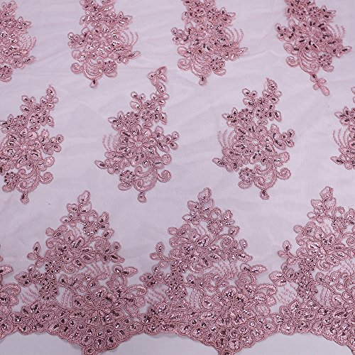 51'' Adrianna Embroidered Flower with Sequins Scalloped Edge Lace Fabric (Yard, Dusty Pink)