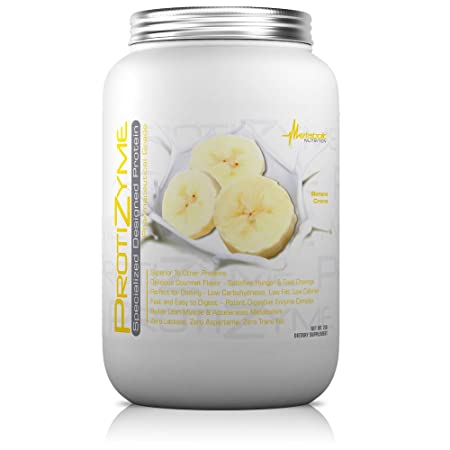 Metabolic Nutrition, Protizyme, 100 Whey Protein Powder, High Protein, Low Carb, Low Fat Whey Protein, Digestive Enzymes, 24 Essential Vitamins and Minerals, Banana Creme, 2 Pound 26 ser