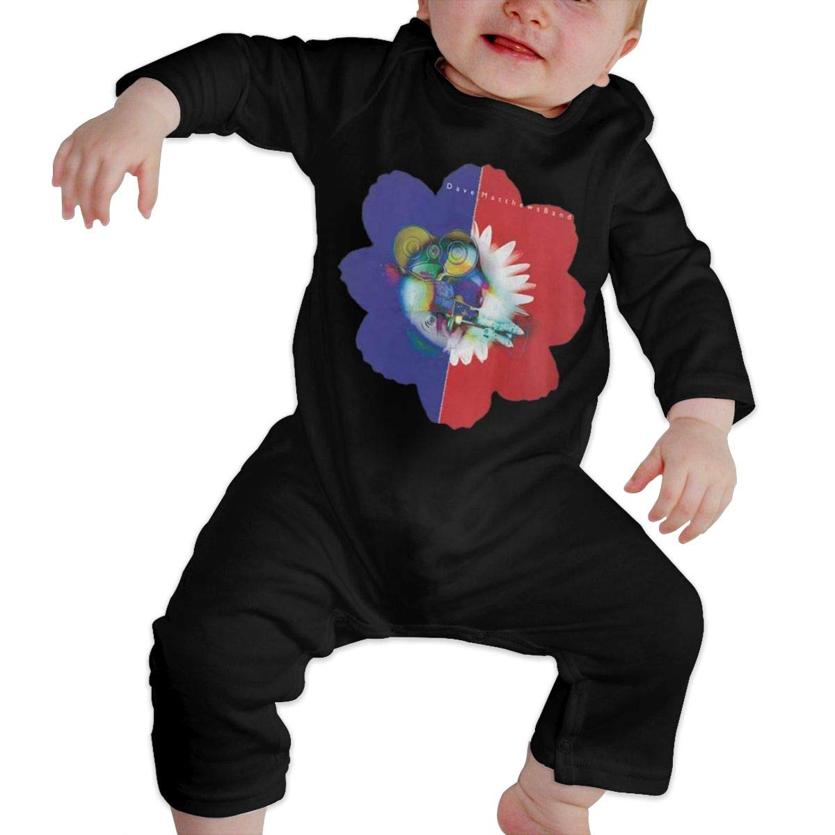 SOFIEYA Dave-Matthews Kids Baby Unisex Cotton Cute Long Sleeve Hooded Romper Jumpsuit Baby Crawler Clothes Black