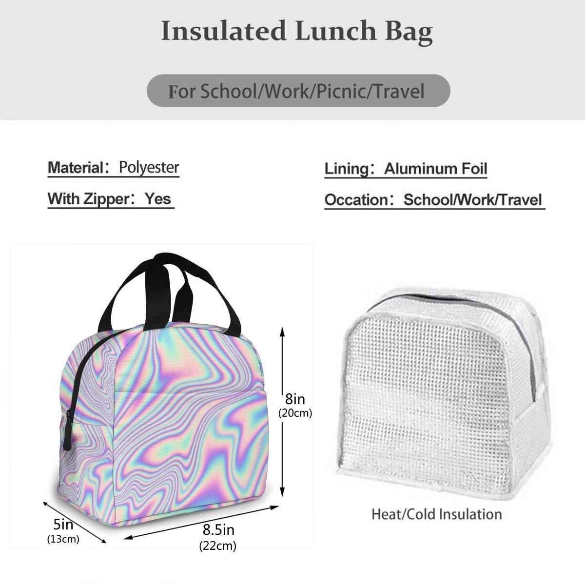 Holografischer Druck Trendy in Pastell Freezable Lunch Bag mit Rei/ßverschluss