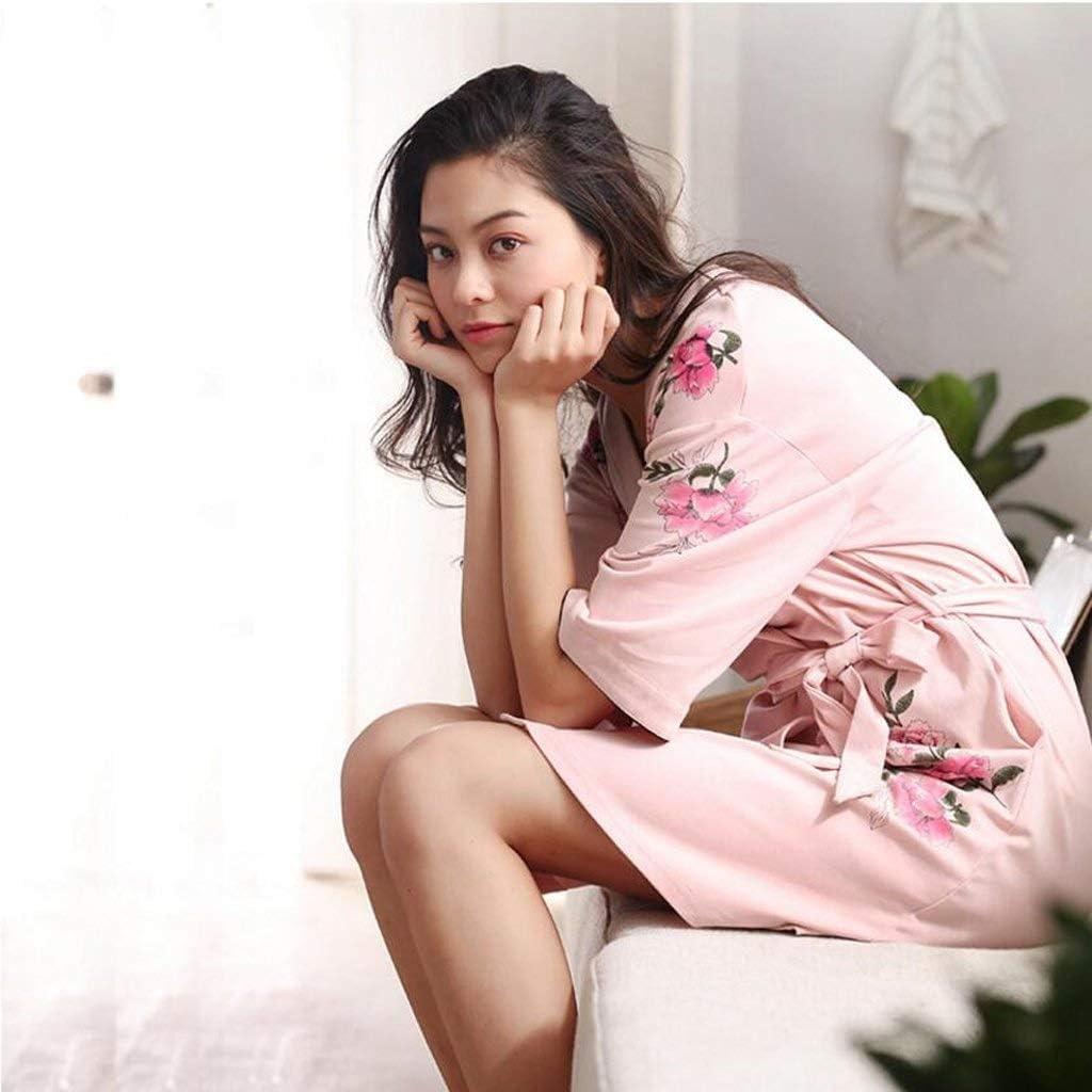 DWLXSH Kimono de Mujer Batas Algodón Ligero Bata de Punto Larga ...