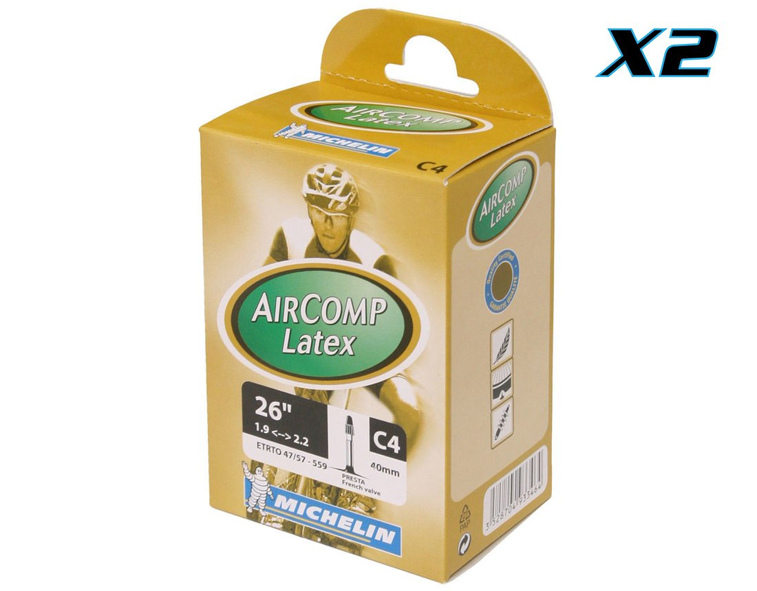 Michelin Aircomp Latex C4 MTB Tube 40mm Presta Valve Bike Tube Bundle (Pack of 2 Michelin Latex MTB Tubes) by MICHELIN