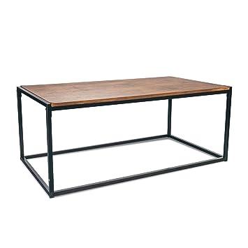 Port Housewares Contemporain Industriel Table Basse Bois Fonce Cadre En Acier 110 X 60 X 46 Cm