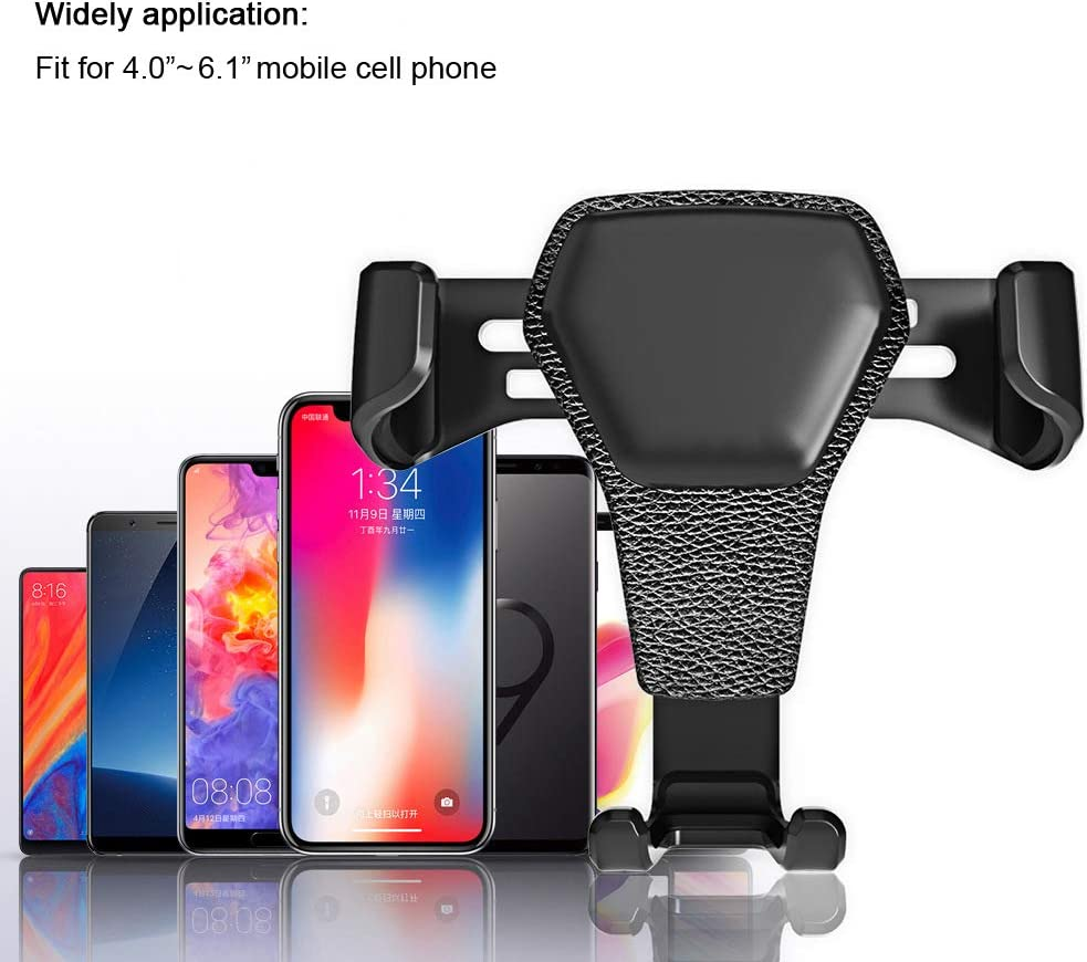 Gravity Car Air Vent Mobile Cell Phone Holder Auto-Clamping Mount Cradle Compatible for iPhone 11 Pro XS XR X 8 7 6s 6 Plus 5s SE and More Black
