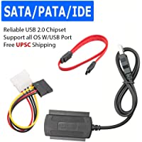 """Leoie Adapter Converter Cable,SATA/PATA/IDE to USB 2.0 Adapter Converter Cable for Hard Drive Disk 2.5"""" 3.5"""""""