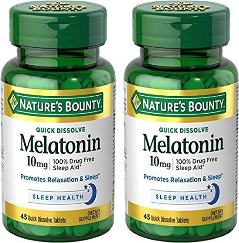Natures Bounty Melatonin Quick Dissolve Tablet, 10 mg, 90 Tablets (2 X 45 Count Bottles)
