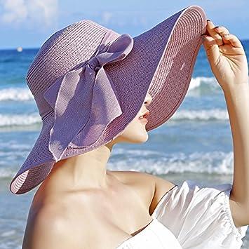 6a0141a2a6a33 LOF-fei Mujer Verano Sombrero de Sol Moda Sombrero de Paja Disquete Playa  arenoso UPF 50+ ala Ancha Playa