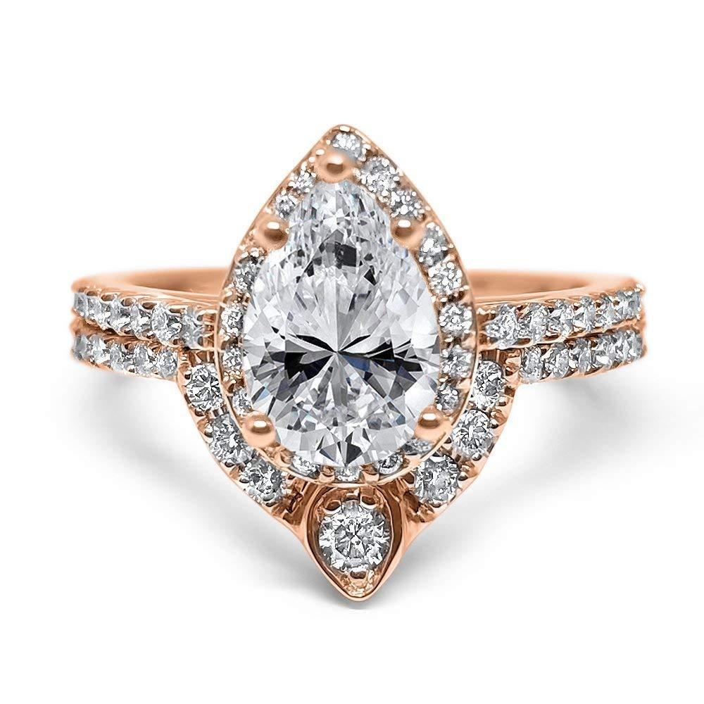 Amazon Com Wedding Set Diamond Halo Pear Moissanite 14k Rose Gold Unique Engagement Ring And Wedding Band Handmade