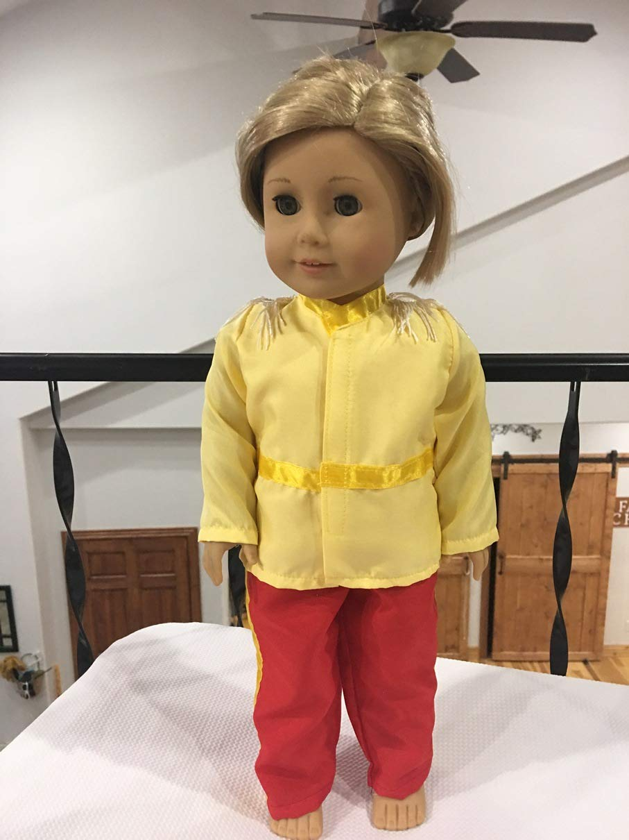 Fits 18 American Boy Girl Doll Clothes Cinderellas Prince Charming Knight Inspired Costume Top Pants Red Yellow NO DOLL
