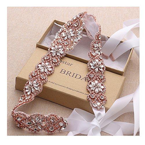 Yanstar White Bridal Belts Wedding Dress Belts Sashes Handmade Rose Gold Beads Rhinestones For Bridal Gowns