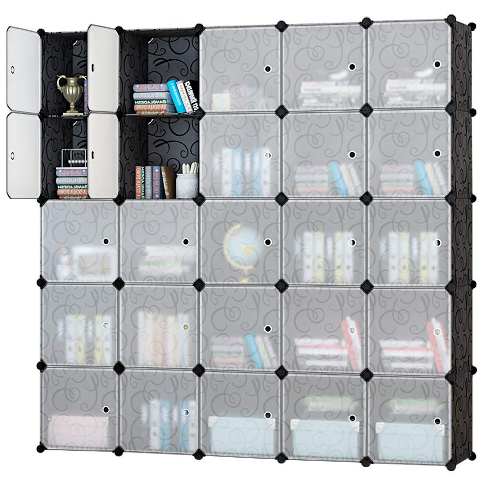 Honey Home Modular Storage Cube Closet Organizers, Portable Plastic DIY Wardrobes Cabinet Shelving with Easy Closed Doors for Bedroom/Office / Kitchen/Garage - 25 Cubes Black & White