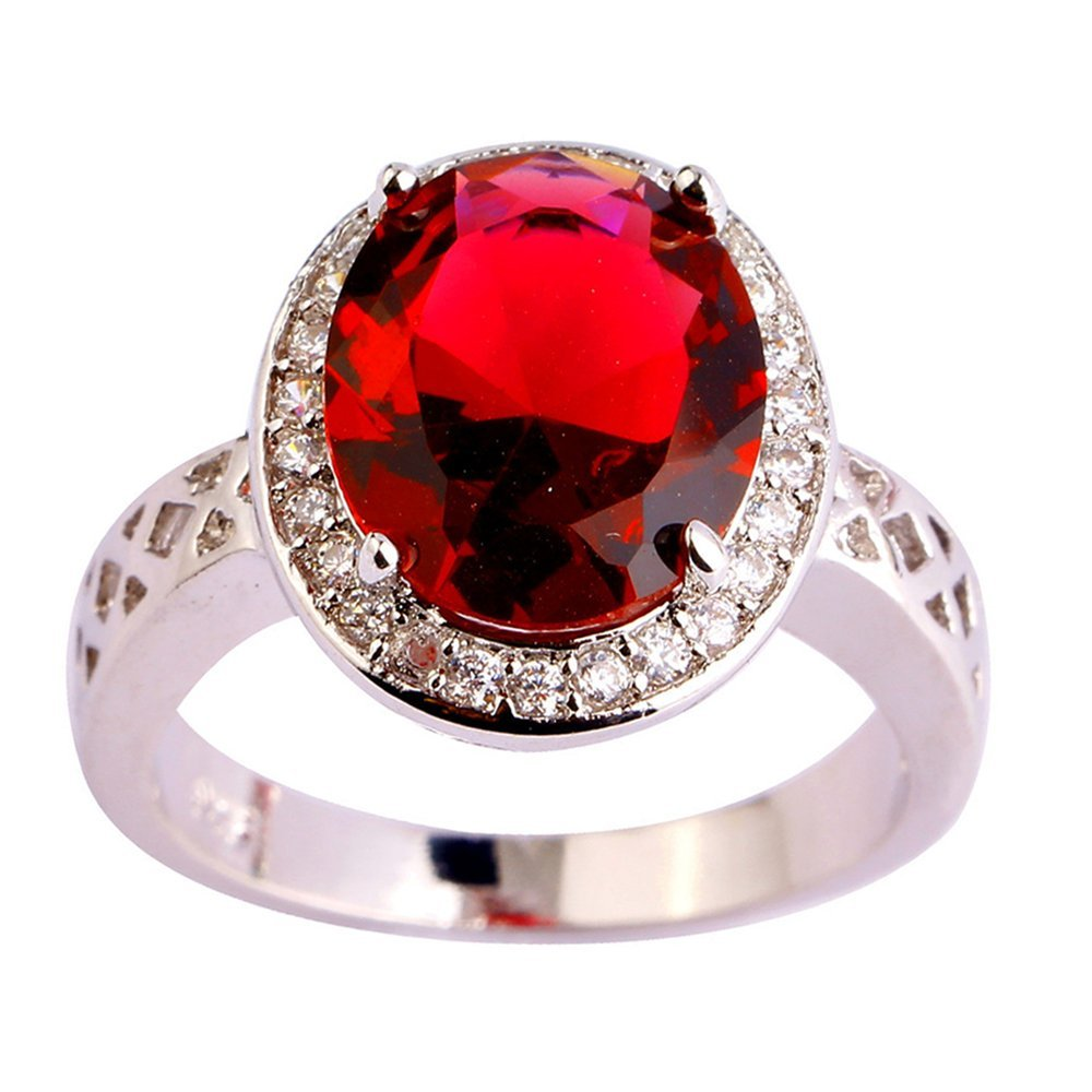 Rny Jewelry Engangement Red Oval Cut Ruby Jewelry Ring For Women Wedding Bridal Rings