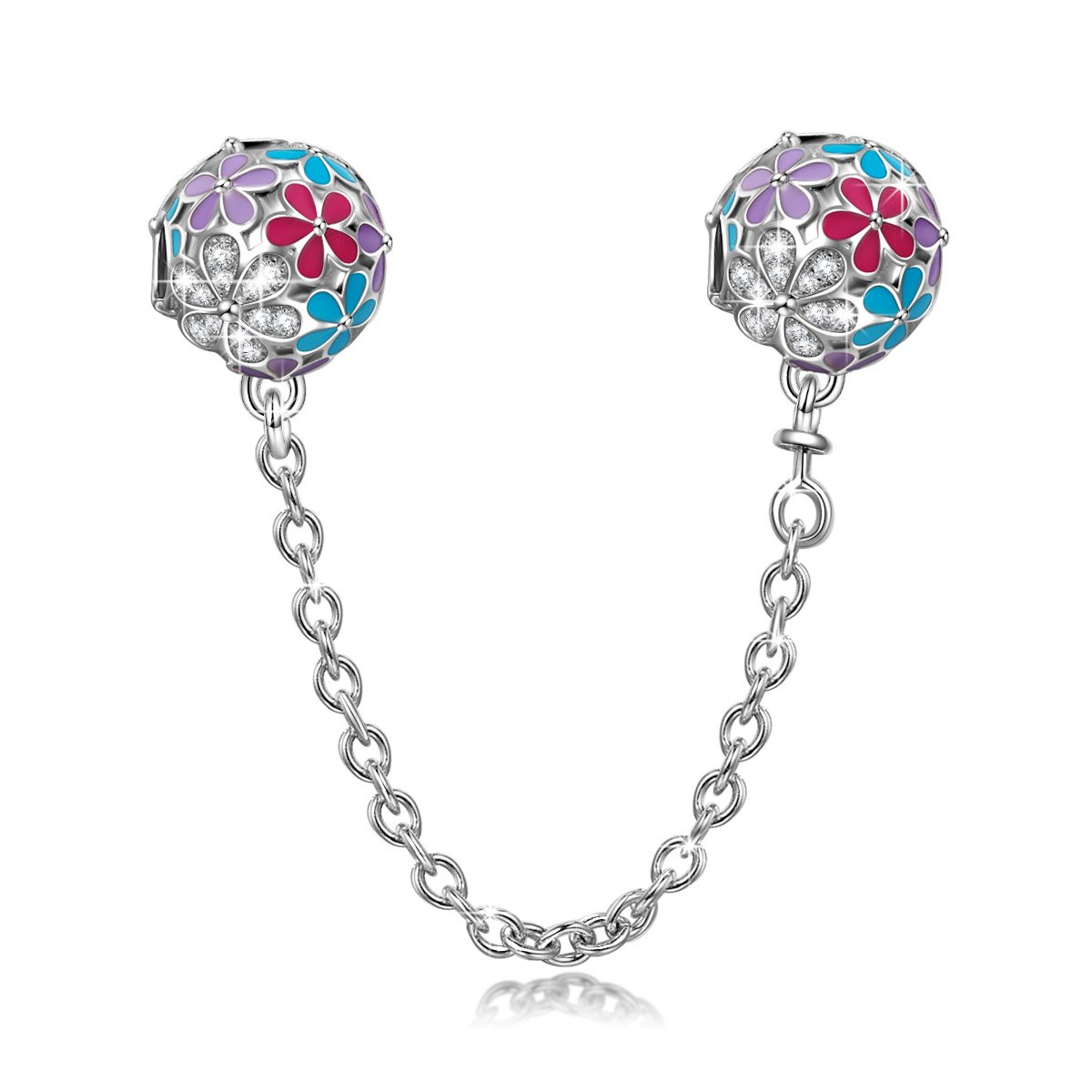 NINAQUEEN 925 Sterling Silver Pandöra Safety Chain for Bracelets, Stopper fit Bead Charms, Birthday Anniversary Chritstmas Back to School Gifts for Her Teen Girls Kids Women Wife Daughter Mom