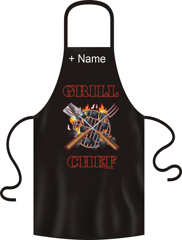Grillschürze schwarz mit Namendruck Kochschürze Party Schürze Grillmeister BBQ