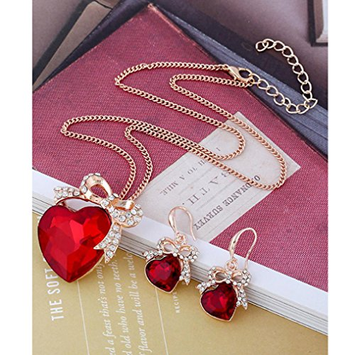 Transparent Necklace And Earring Set - Women's Necklace Earring Sets,UsstoreRetro Pendant Chain Wedding Jewelry Bridal Gifts (Red)