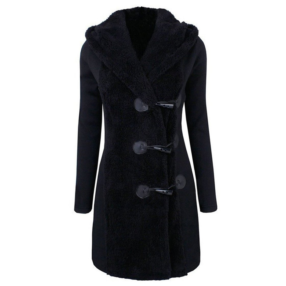 Mose New Fashion Women Long Sleeve Winter Warm Slim Thicker Buttons Parka Hoodie Coat Overcoat (Black, L)