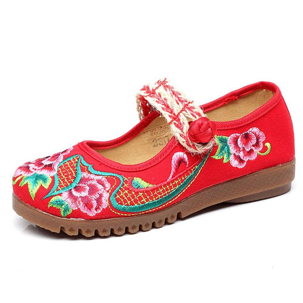 Fanwer Scarpe Basse da Donna Stile Mary Janes Cheongsam Ricamate in Stile Cinese