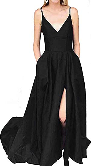 0942537f1d Image Unavailable. Image not available for. Color  Ri Yun Womens Spaghetti  Strap Prom Dresses Long Slit 2019 V-Neck A-Line