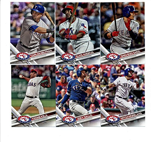 Texas Rangers Team Set - 2017 Topps Texas Rangers Complete Master Team Set of 30 Cards (Series 1, 2, Update) with Keone Kela(#22), Nomar Mazara(#233), Joey Gallo(#237), Adrian Beltre(#280), Elvis Andrus(#284), Shin-Soo Choo(#290), Carlos Beltran(#315), Mitch Moreland(#317), Jonathan Lucroy(#346), Jurickson Profar(#367), Carlos Gomez(#427), Texas Rangers(#430), Jeremy Jeffress(#514), James Loney(#524), Martin Perez(#545), HEART OF TEXAS(#566), Matt Bush(#591), Sam Dyson(#620), Ryan Rua(#637), plus more