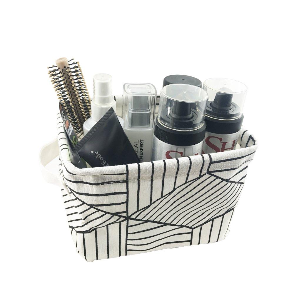 Pack of 2 Small Foldable Storage Basket Canvas Fabric Waterproof Organizer