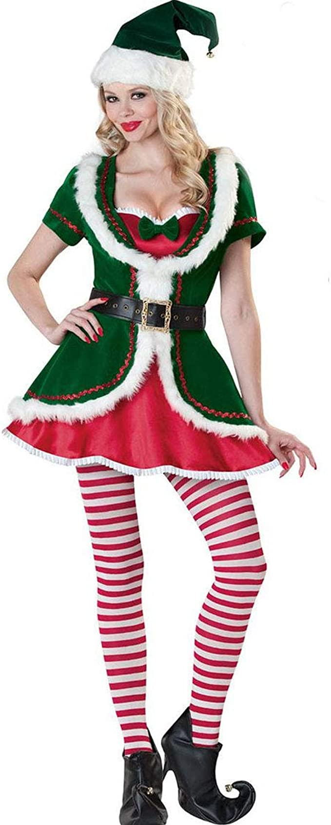 Disfraz de Duende navideño para Mujer Vestido de Duende de ...