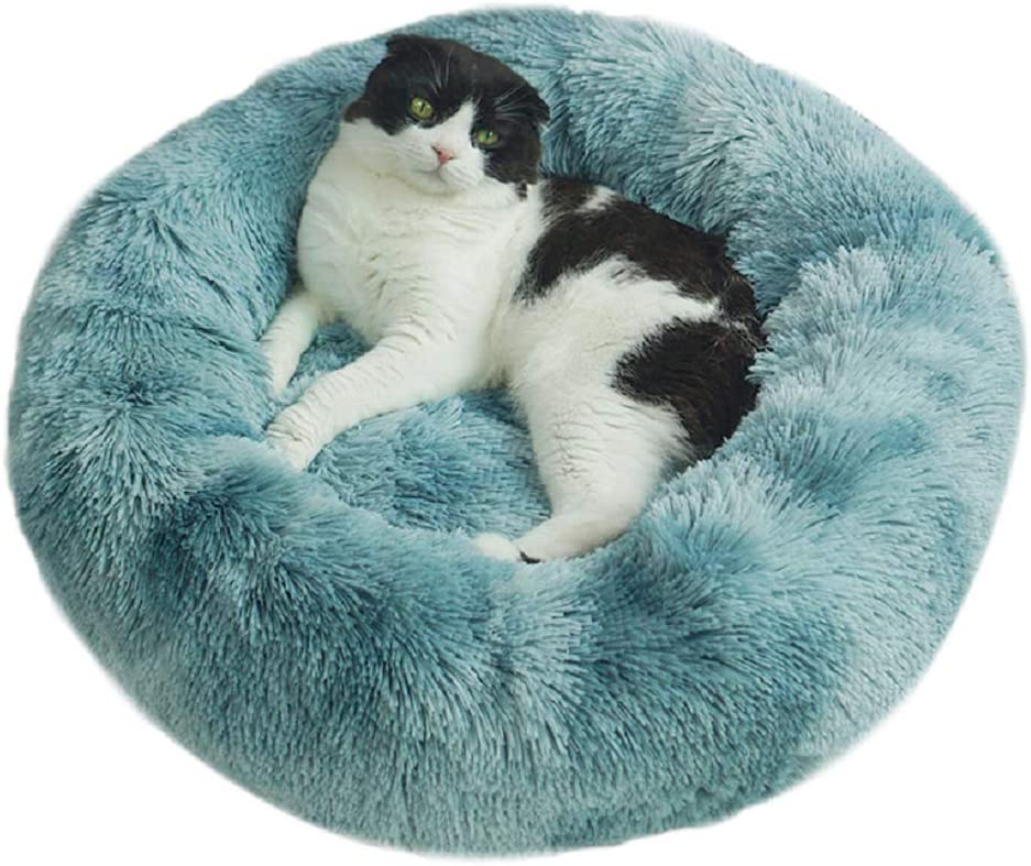 TVMALL Dog Bed Cat Bed Cushion Faux Fur Dog Beds for Medium Small Dogs Self Warming Indoor Round Donut Pillow Cuddler Amazing Cat Bed and Dog Bed Mats Cushion for Joint-Relief and Improved Sleep