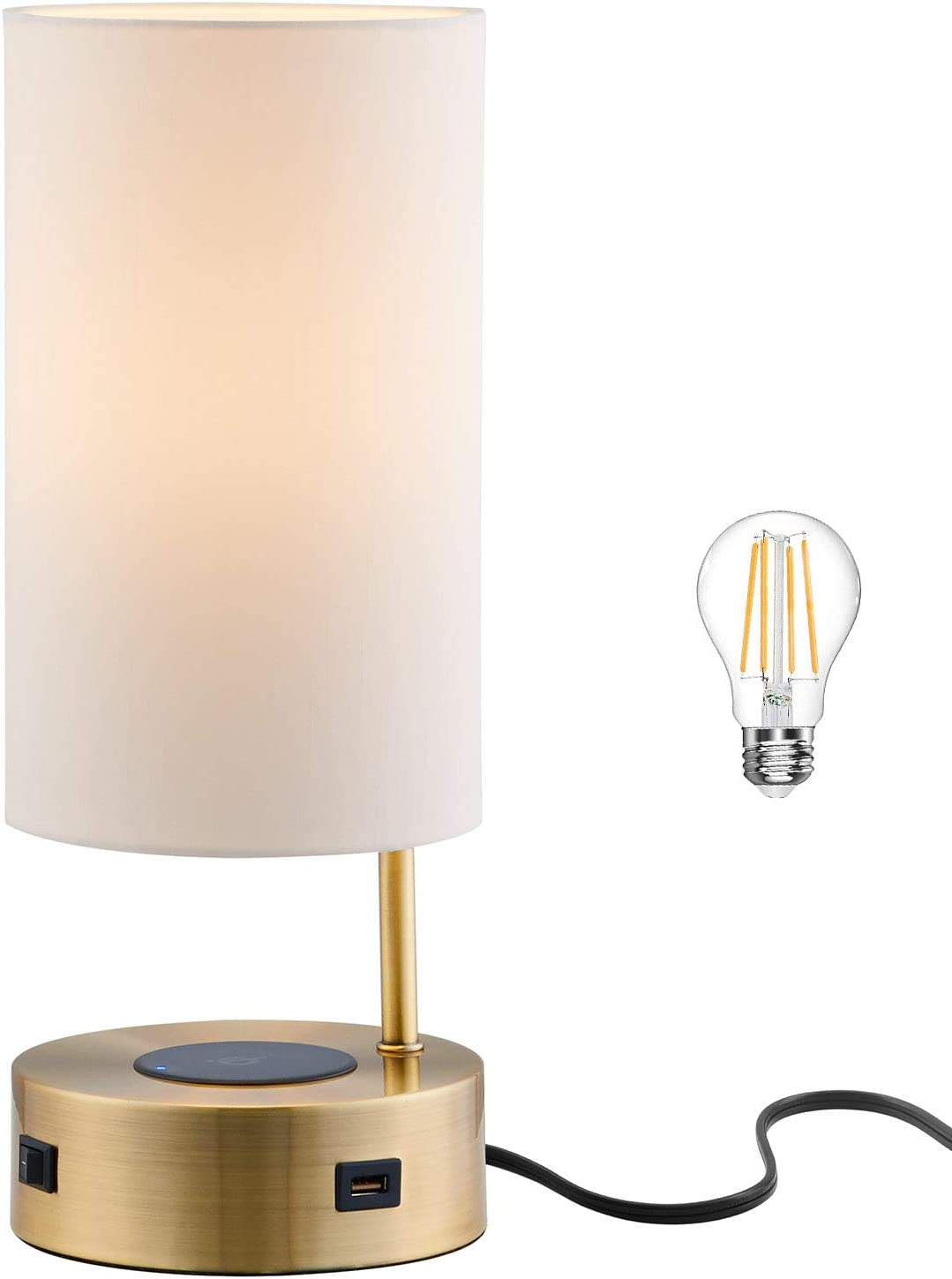 Lampression USB Nightstand Table Lamp with Wireless Charging Station for Bedroom, Modern Bedside Lamp for Living Room, Antique Brass with Ivory Shade Office Desk Lamp, LED Bulb Included
