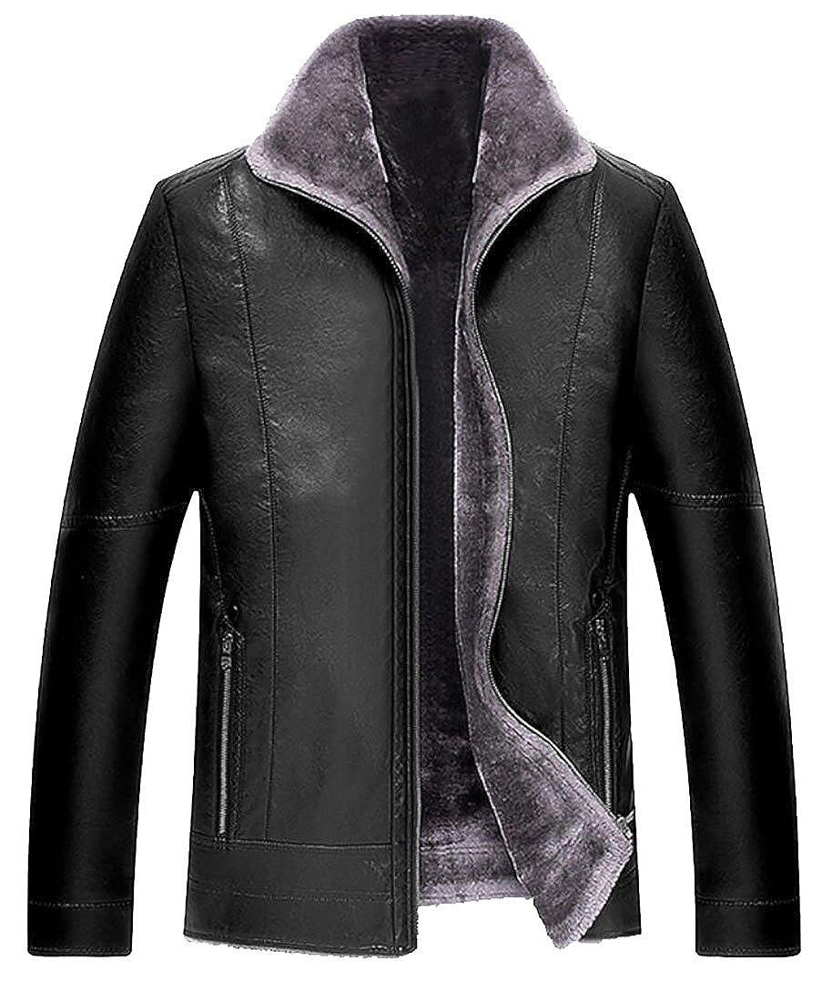 Black Oberora Men's Premium Full-Zip Fur Lined Faux-Leather Thicken Moto Jackets Coat