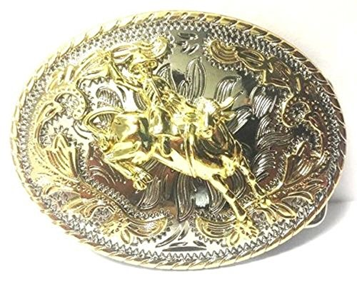 Big Belt Buckle Bull Rider Oval Western Style Cowboy Rodeo Gold (Pewter Belt Buckle Confederate Flag)