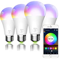 Smart WiFi Light Bulb, Bombilla LED Inteligente, A19 E27 RGBCW WiFi Dimmable LED Multicolor Lights, Compatible con Amazon Echo Alexa, Google Home e IFTTT (no se requiere concentrador) 7W (equivalente a 60w) 4 Pack