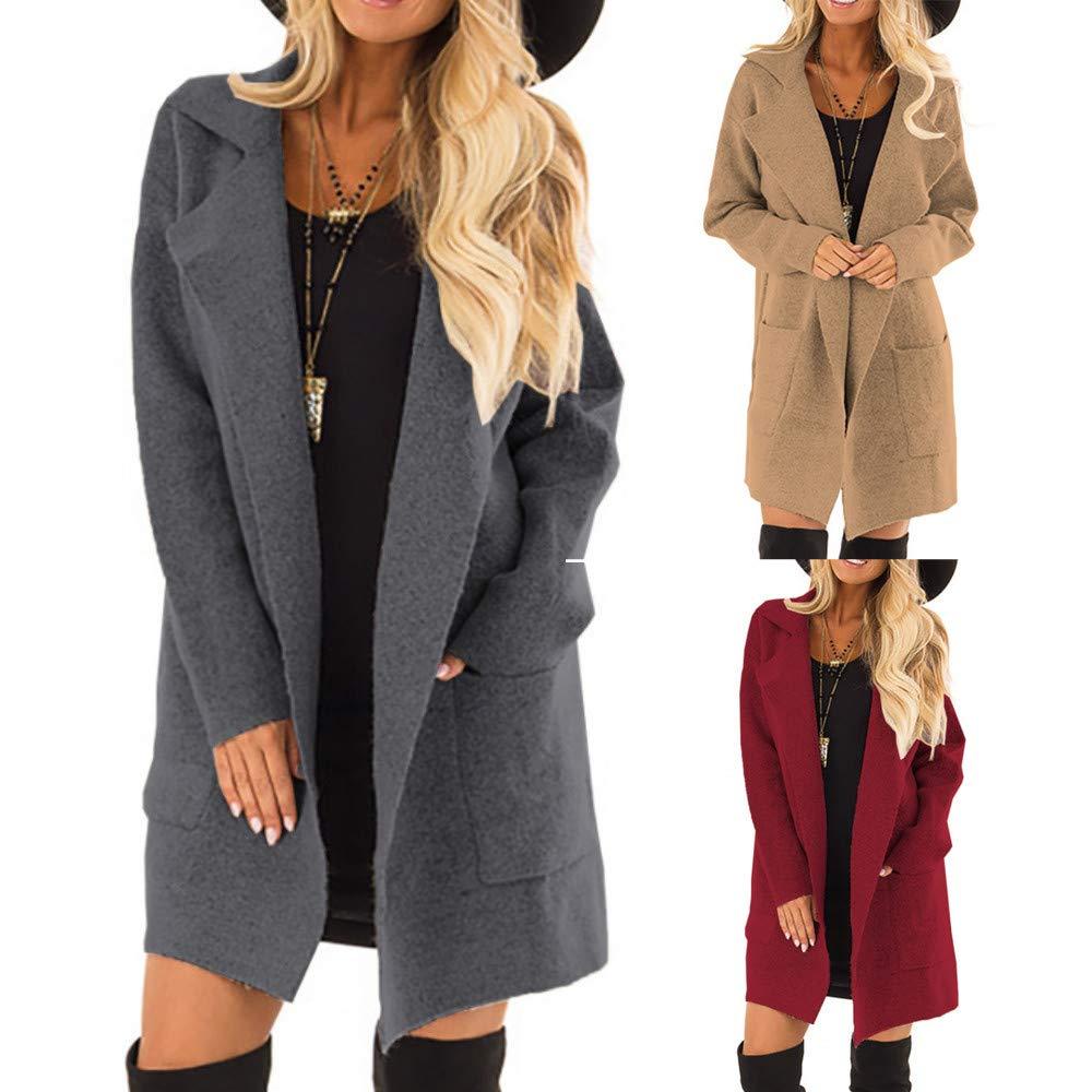 Amazon.com: Women Open Front Long Sleeve Coat Jacket Parka ...