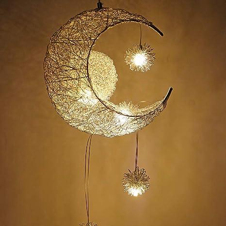 G4 LED Creativo Luna y Estrellas Lámpara Colgante LED de Hada Lámpara de Techo,luz de Techo, Niños,Dormitorio,Decoración (Blanco Cálido)