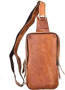 Leathario Bolso Pecho Hombro Bandolera Cruzado Cuero Guenino Vintage de Trabajo para Hombres Mochila Pecho Piel Grande para Viaje Crossbody Sling Bag (Amarillo 76)