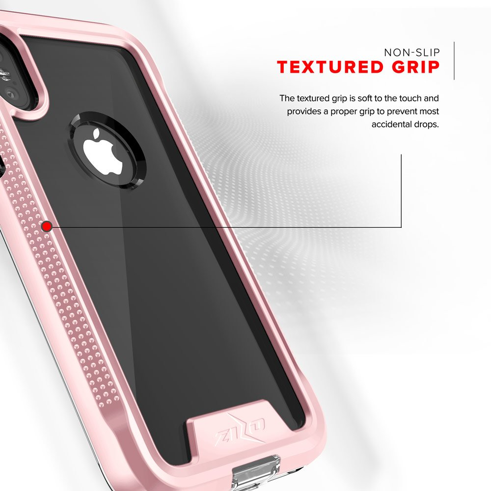 Zizo ION Series compatible with iPhone X Case Military Grade Drop Tested with Tempered Glass Screen Protector ROSE GOLD CLEAR by Zizo (Image #3)