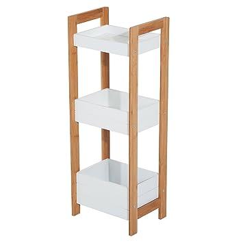 Homcom® Badregal Korbregal Standregal Badezimmer Regal Bambus 3 Staufächer  Weiß