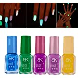 Amlaiworld-5pcs Neón fluorescente luminoso de uñas del gel